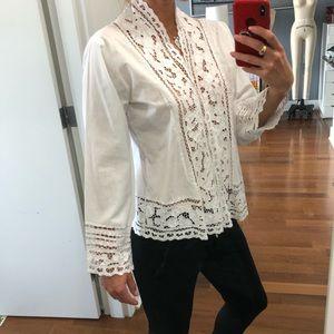 Natalie Martin hand crochet lace cotton top tunic